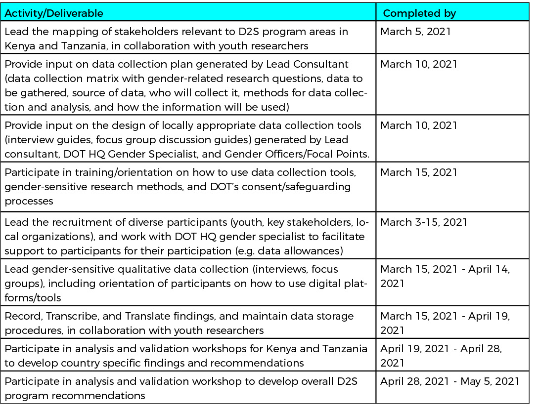 Timeline of Key Activities and Deliverables